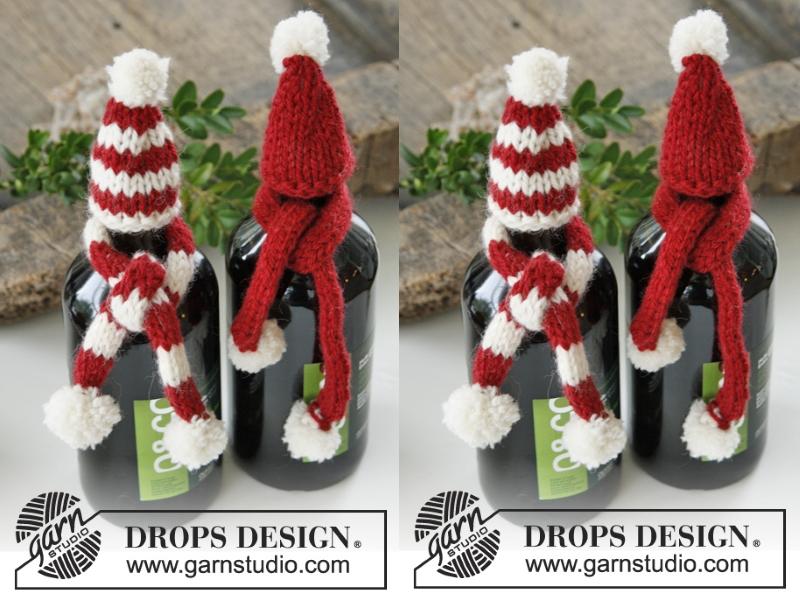 Рождественское украшение для бутылки: шапка и шарф