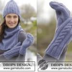 Комплект: шапка, рукавицы и шарф-воротник c косичками