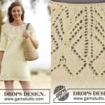 Легкое вязаное спицами платье «Ванильное лето» от Drops Design