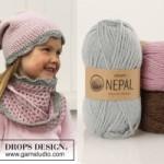 Вязаный комплект шапка и шарф для девочки «Fancy Nancy» от Drops