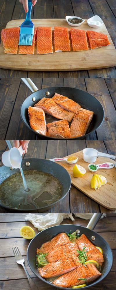 рецепт Лосося с лимоном и розмарином
