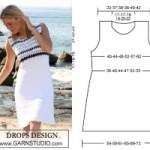 Платье с вязаной кокеткой от DROPS