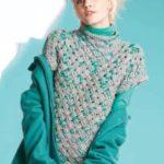 Женский вязаный свитер с коротким рукавом